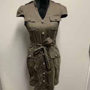Express midi casual button dress army green